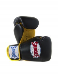 Pair of Sandee Authentic Velcro Black & Yellow Leather Boxing Glove