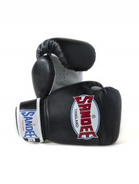 Sandee Authentic Velcro Black & White Synthetic Leather Boxing Glove