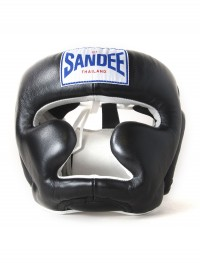 Sandee Closed Face Black & White Leather Head Guard