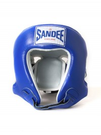 Sandee Open Face Blue & White Leather Head Guard