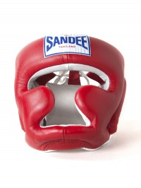 Sandee Closed Face Red & White Leather Head Guard