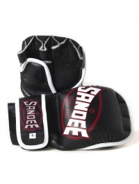 Sandee Black & White Leather MMA Sparring Glove