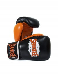Sandee Neon Velcro Black & Orange Leather Boxing Glove