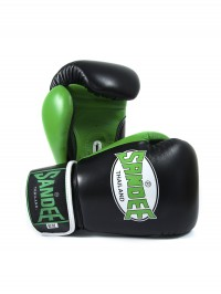 Sandee Neon Velcro Black & Green Leather Boxing Glove