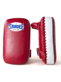Sandee Small Extra Thick Red & White Synthetic Leather Flat Thai Kick Pads