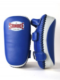 Sandee Blue & White Curved Thai Leather Kick Pads