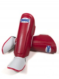 Sandee Authentic Red & White PU Boot Shinguards