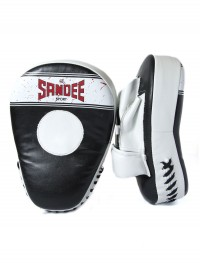 Sandee Sport Synthetic Leather Black & White Curved Focus Mitt