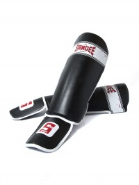 Sandee Sport Velcro Black & White Synthetic Leather Boot Shinguard