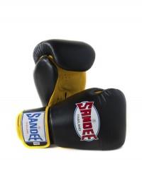Sandee Authentic Velcro Black & Yellow Leather Boxing Glove