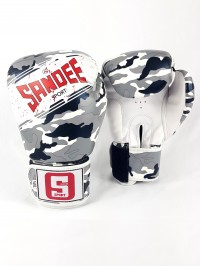 Sandee Sport Velcro Camo Grey/Black/White Synthetic Leather Boxing Glove