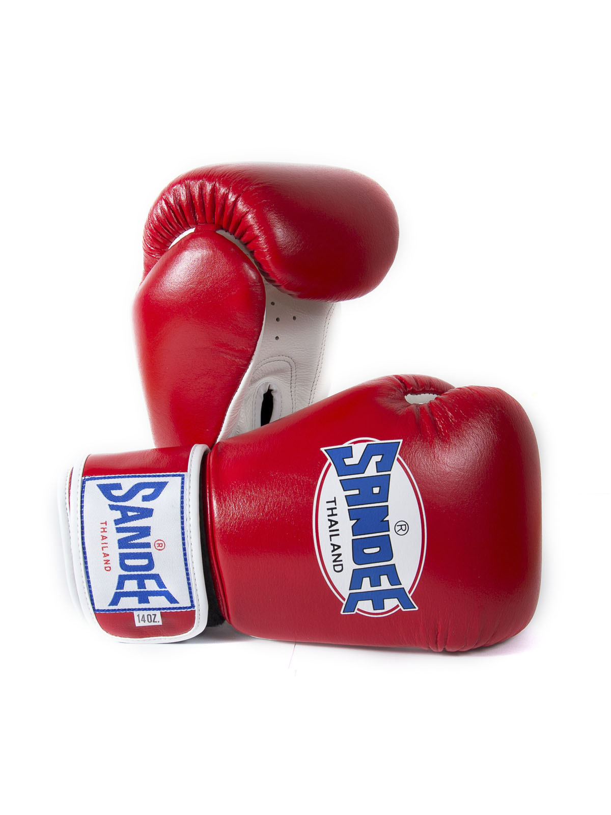 Sandee Authentic Red /& White Leather Hook and Loop Boxing Gloves Muay Thai MMA